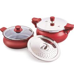 Pigeon Super Cooker Red Aluminium 5 L & 3.5 L Pressure Cooker Combo
