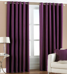 PIndia Purple Polyester 84 x 48 Inch Solid Eyelet Door Curtain - Set of 2