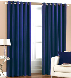 PIndia Blue Polyester 84 x 48 Inch Solid Eyelet Door Curtain - Set of 2