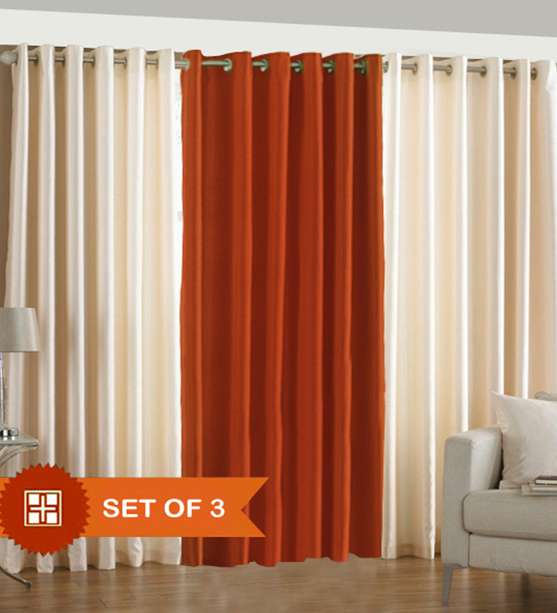 PIndia Cream N Rust Window Curtains(Set Of 3 Pcs)- 5 Ft By