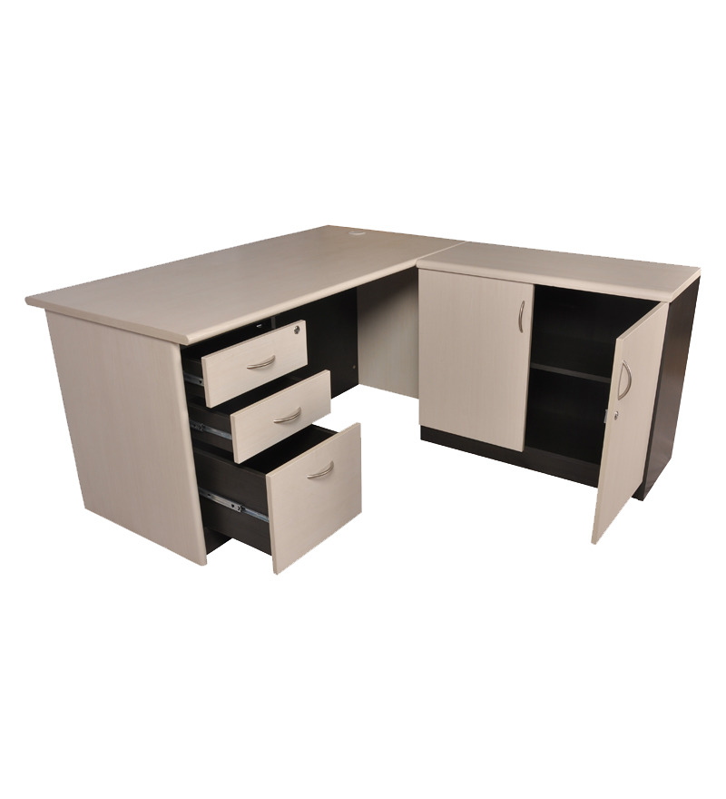 pine crest grand office desk set with pedestal and storage