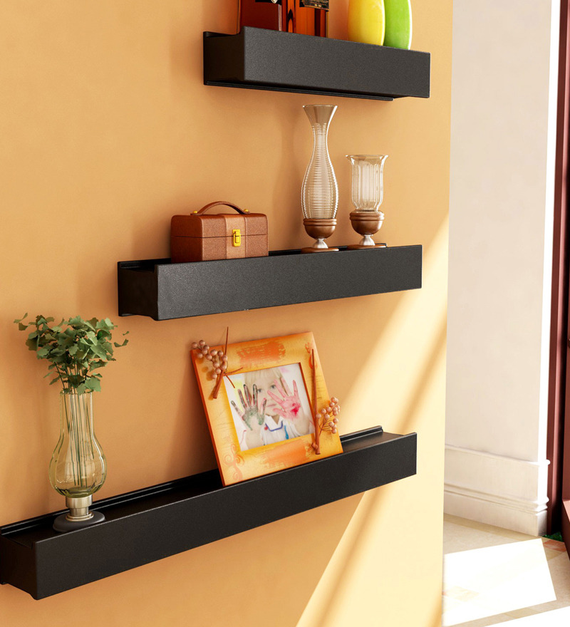 Buy Pitch Black Wooden Wall Shelves Set Of 3 Online Contemporary Wall Shelves Pepperfry