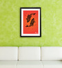 Pickypomp Paper 8 x 12 Inch Artistic Fishes in Saffron Framed Wall  Digital Art Print