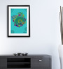 Pickypomp Paper 8 x 12 Inch Teal Peacock Framed Wall Poster