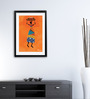 Pickypomp Paper 8 x 12 Inch Tribal with Basket in Saffron Framed Wall  Poster
