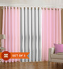 PIndia Baby Pink & White Polyester 60 x 48 Inch Solid Eyelet Window Curtain - Set of 3