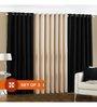 PIndia Black Polyester 108 x 48 Inch Long Door Curtain - Set of 3
