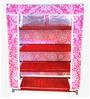 Pindia Fancy Foldable Pink 4-Layer Shoe Rack Organizer - Set of 2