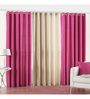 PIndia Pink Polyester 108 x 48 Inch Long Door Curtain - Set of 3