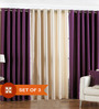 PIndia Multicolour Polyester 84 x 48 Inch Solid Eyelet Door Curtain - Set of 3