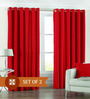 PIndia Red Polyester 60 x 48 Inch Solid Eyelet Window Curtain - Set of 2