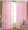 PIndia Pink Polyester 60 x 48 Inch Solid Eyelet Window Curtain - Set of 2
