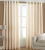 PIndia White Polyester 60 x 48 Inch Solid Eyelet Window Curtain - Set of 2