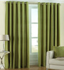 PIndia Green Polyester 60 x 48 Inch Solid Eyelet Window Curtain - Set of 2