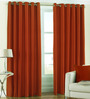 PIndia Brown Polyester 60 x 48 Inch Solid Eyelet Window Curtain - Set of 2