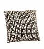 Pluchi Black & White Cotton 16 x 16 Inch Cuadrados Knitted Cushion Cover