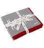 Pluchi Lovable Friends Fox Baby Blanket in Light Grey, Natural & Red Colour