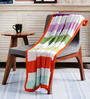 Pluchi Multicolor Cotton Striped 47 x 37 Inch Single Blanket