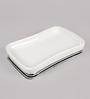 Plumeria White & Silver Ceramic Bathroom Shelf