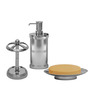Plumeria Silver Metal Bathroom Accessories - Set of 3