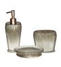Plumeria Silver Resin Bathroom Accessories - Set of 3