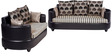 Polar Sofa Set 3+2 in Black Color by Arra