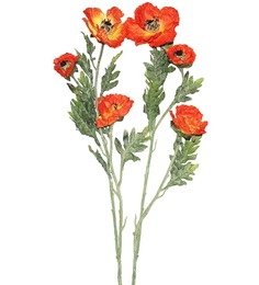 Pollination Orange Poppy Artificial Flowers - Set of 2