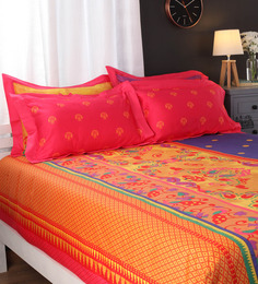 Portico New York Blues Indian Ethnic Cotton King Size Bed Sheets - Set of 5