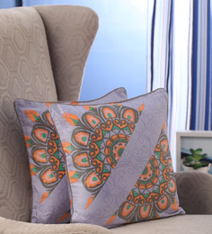 Portico Grey Cotton 16 X 16 Inch Nishka Lulla Cushion Cover - Set Of 2