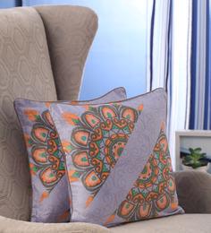 Portico Grey Cotton 16 X 16 Inch Nishka Lulla Cushion Cover - Set Of 2