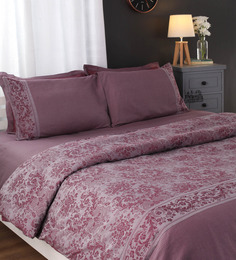 Portico New York Purples Nature & Florals Cotton Queen Size Duvet Cover 1 Pc