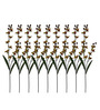 Pollination Light Yellow Single Stalk Artificial Orchid Flower - Set of 9