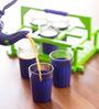 Poppadum Art Purple & Green Glass 100 ML Chai Cups - Set of 6