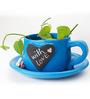 PoppadumArt Writeinoninme Planter in Heart Blue