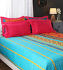Portico New York Multicolour Indian Ethnic Cotton King Size Bed Sheets - Set of 3