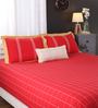 Portico New York Reds Geometric Patterns Cotton King Size Bed Sheets - Set of 4