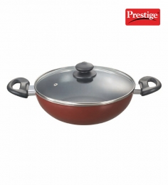 Prestige Omega Deluxe Aluminium Kadai With Glass Lid - 260MM