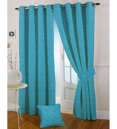 Presto Blue Polyester 60 x 44 Inch Eyelet Window Curtain - Set of 2