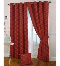 Presto Red Poly Cotton 47 x 59 Inch Eyelet Window Curtain - Set of 2
