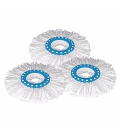 Primeway 360 Degree Rotating White Magic Spin Microfibre Mop Head Refill - Set Of 3
