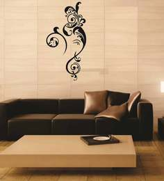 Print Mantras Auspicious And Floral God Ganesha PVC Wall Sticker - 1514582