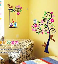 Print Mantras Kids Tree Owl Squirrel Wall Sticker