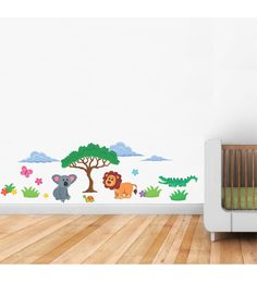 Print Mantras PVC Wall Stickers Animals In Jungle