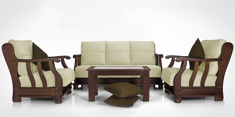 Prestige Sofa Set (3 + 1 + 1) in Beige Colour by Vive