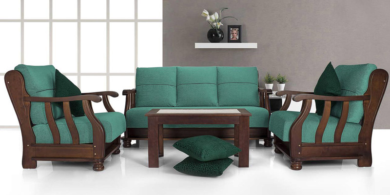 Prestige Sofa Set (3 + 1 + 1) Seater in Teal Colour by Vive