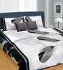 Cortina Feathers Black Satin Double Bed Sheet (with Pillow Covers)