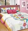 Cortina Forest Blush Multicolour Satin Double Bed Sheet (with Pillow Covers)