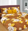 Cortina Golden Sunset Brown, Gold & White Cotton Double Bed Sheet (with Pillow Covers)