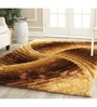 Presto Brown Polyester Abstract Shaggy Area Rug