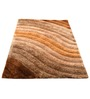 Presto Brown And Beige Polyester Abstract Shaggy Area Rug